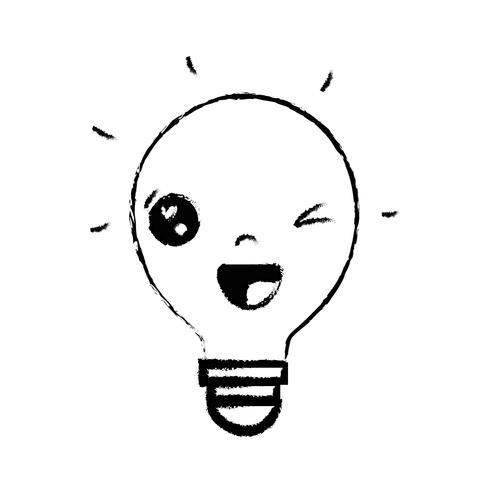 figure kawaii jolie idée drôle ampoule vecteur