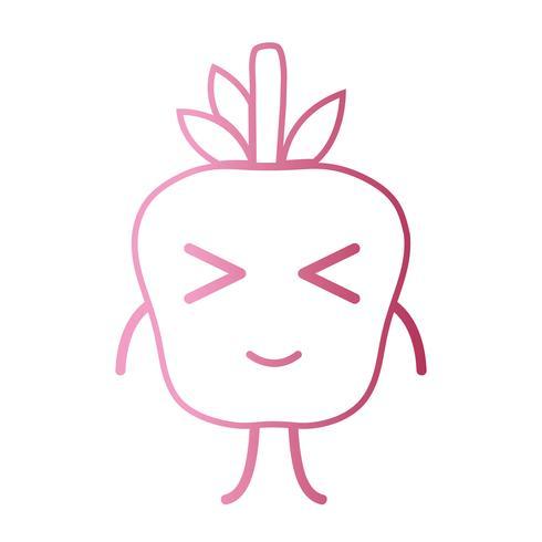 ligne kawaii mignonne pomme heureuse vecteur