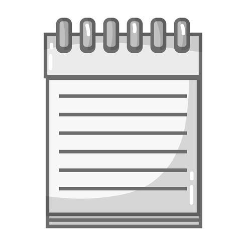 cahier de niveaux de gris design d'objet en papier à écrire vecteur