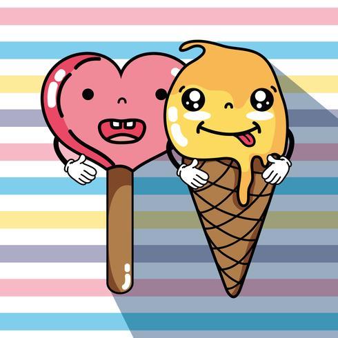 expression de la crème glacée kawaii vecteur