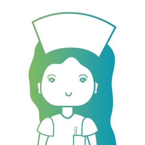 Infirmière de ligne avec la conception d'uniforme et coiffure vecteur
