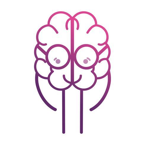 ligne adorable cerveau kawaii avec des lunettes vecteur