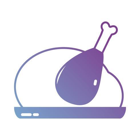silhouette délicieux poulet rôti vecteur