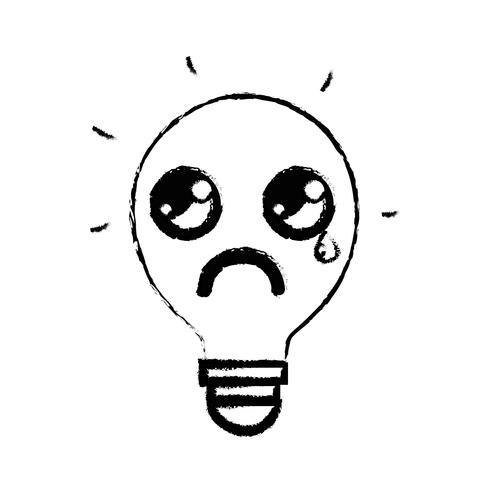 figure kawaii jolie idée ampoule qui pleure vecteur
