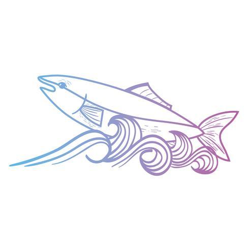 ligne poisson animal dans la mer avec la conception des vagues vecteur