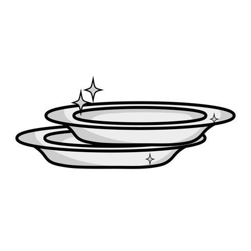 porcelaine en niveaux de gris vaisselle ustensile nettoyeur design vecteur