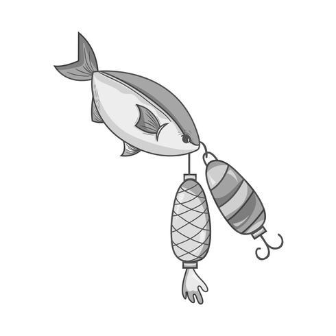 poisson en niveaux de gris mordant objet spinner pour l'attraper vecteur