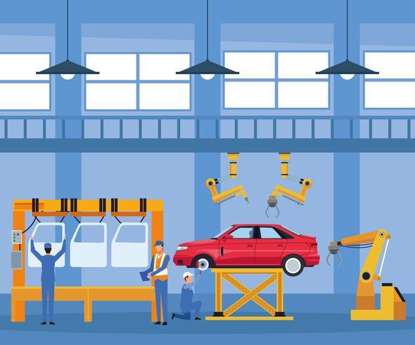 Ouvrier, usine automobile vecteur