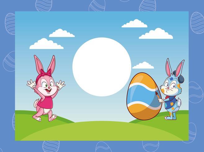 dessins animés de joyeuses pâques vecteur