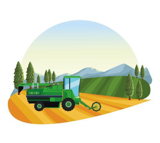 Tracteur de semis agricole vecteur