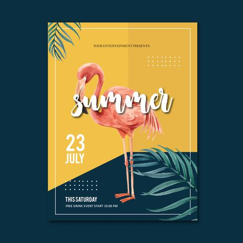 Summer party design vacances affiche sur la nature de soleil plage mer. temps de vacances, conception créative illustration vectorielle aquarelle vecteur