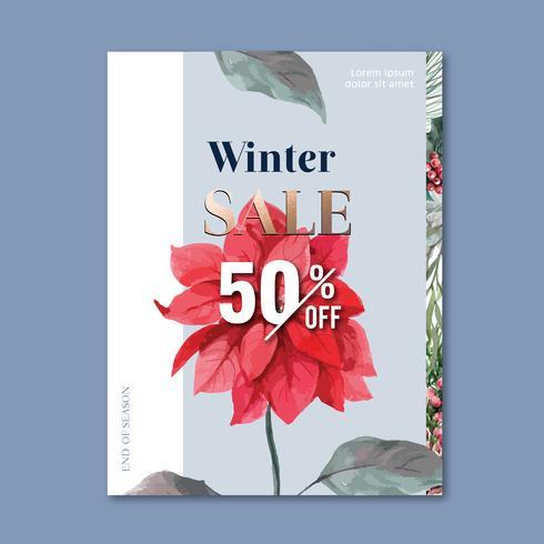 Affiche florale florale hivernale, carte postale élégante pour la décoration vintage belle, conception illustration vectorielle aquarelle créative vecteur