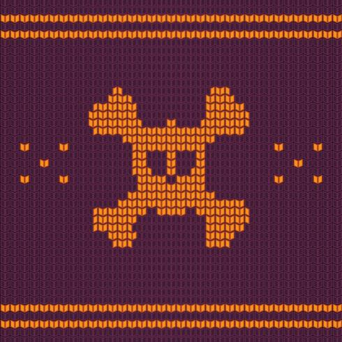 Crâne tricoté avec des os, pull pour Halloween et Noël vecteur