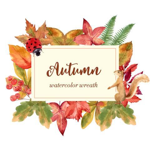Cadre de couronne de saison d'automne avec des feuilles et des animaux. Cartes de voeux automne parfait pour imprimer, invitation, modèle, conception créative illustration vectorielle aquarelle vecteur