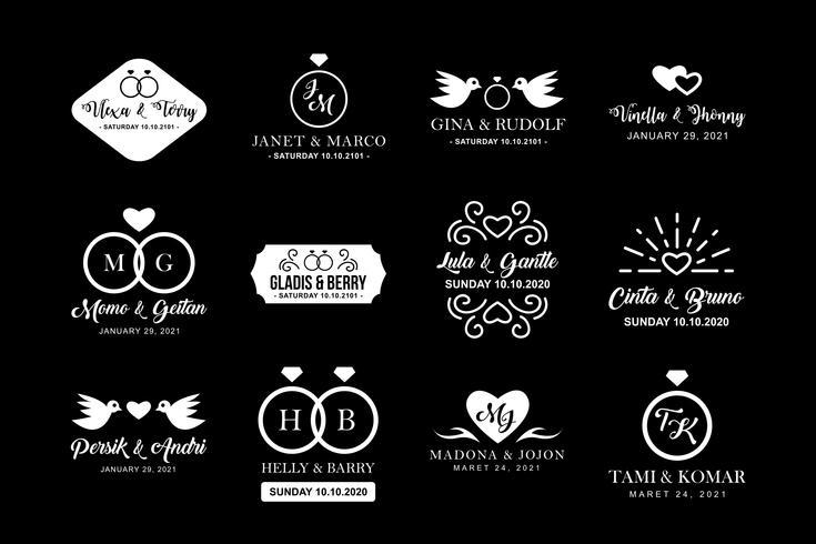 Logo et badge de mariage, bon pour l'impression vecteur