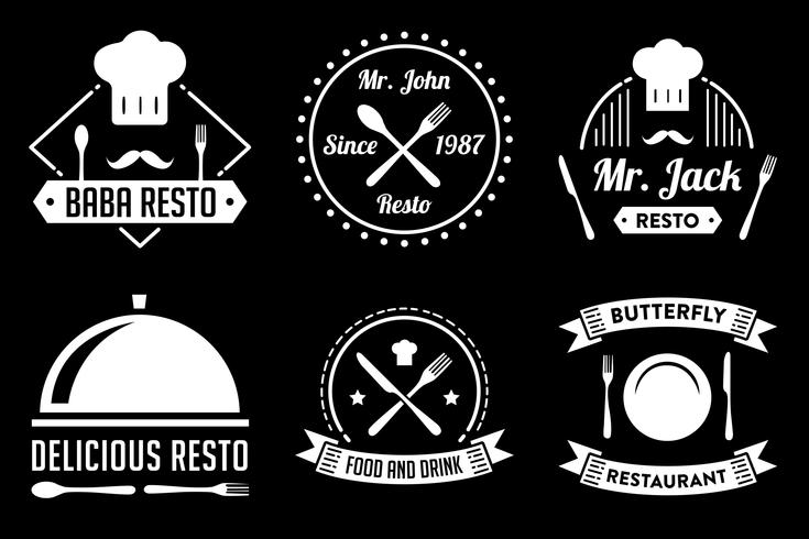 Badge et logo de restaurant, bon pour l'impression vecteur