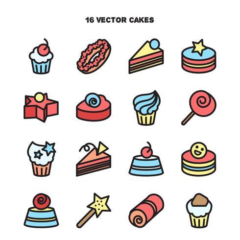Collection d'icônes de boulangerie et de gâteau. Candy, doux ensemble vecteur