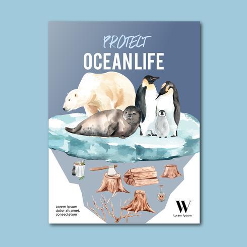 Réchauffement de la planète et pollution. Campagne de publicité brochure flyer affiche, enregistrer la conception de modèle de monde, conception créative illustration vectorielle aquarelle vecteur