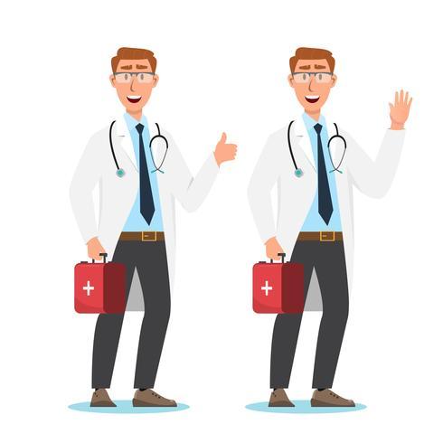 Ensemble de personnages de dessins animés de médecin. Concept d'équipe de personnel médical vecteur