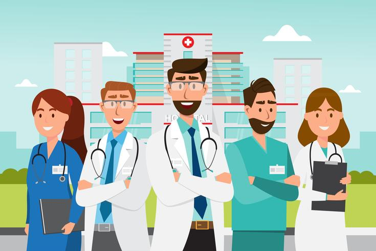 Ensemble de personnages de dessins animés de médecin. Concept d'équipe médicale en face de l'hôpital vecteur
