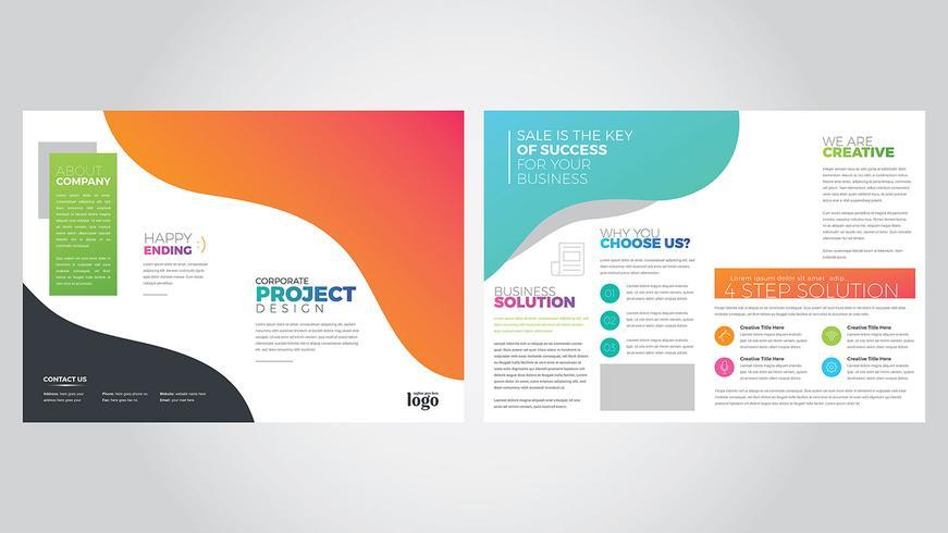 Modèle de Brochure de bifold coloré vecteur
