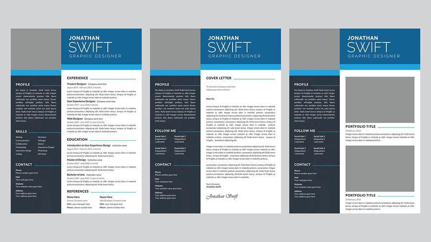 Modèle de conception de CV de CV personnel de 3 pages vecteur