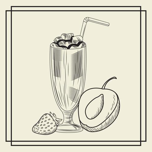 Boisson smoothie aux fruits vecteur