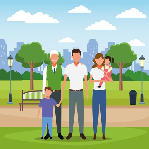 Caricature de famille vecteur