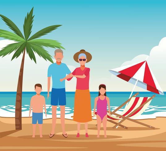 vacances en famille à la plage vecteur