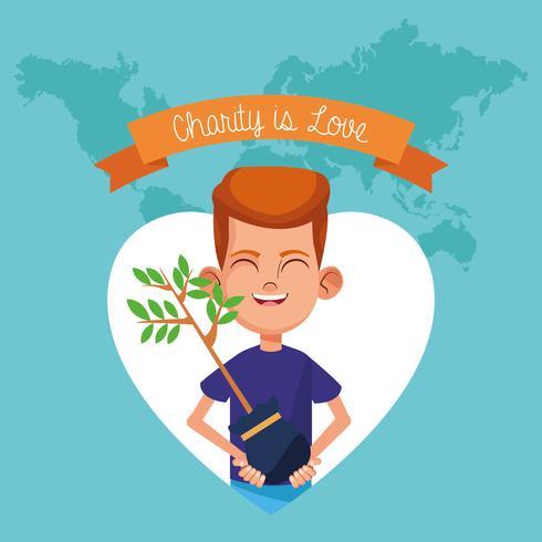 La charité est un dessin d'amour vecteur