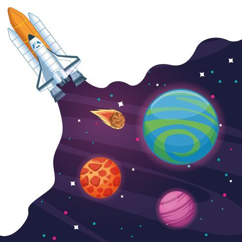 Vaisseau spatial dans la galaxie lactée vecteur