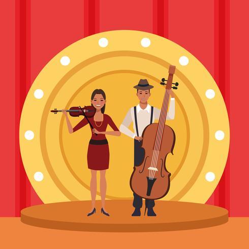 Couple d'artiste musicien vecteur