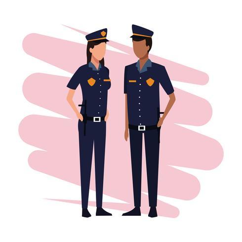Officiers de police travail et ouvriers vecteur