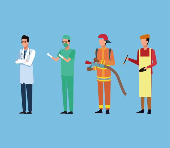 Job et ouvriers vecteur