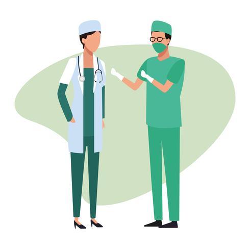 Équipe médicale médecin travail et travailleurs vecteur