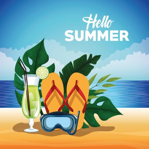 Bonjour affiche de carte d'été avec des dessins animés vecteur