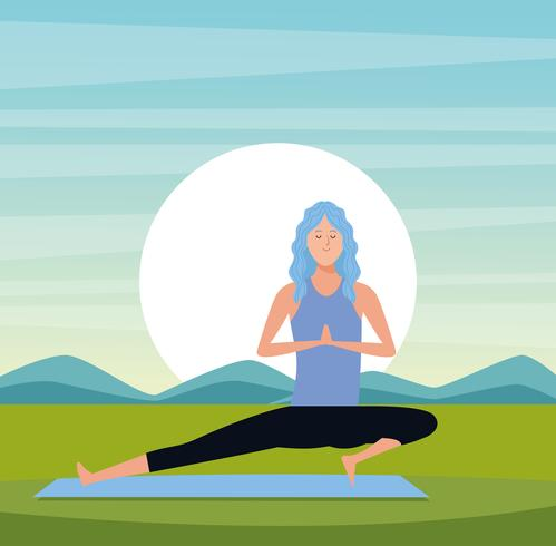 femme dans des poses de yoga vecteur