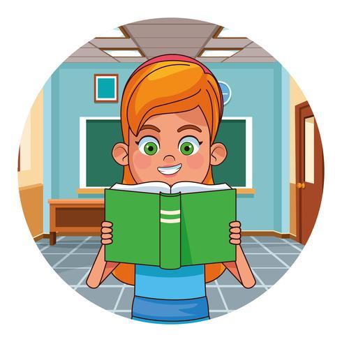 Livre de lecture pour enfants en classe vecteur