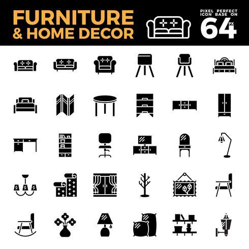 Icône solide de meubles et décoration vecteur