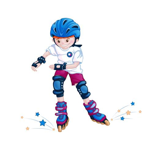 Garçon adolescent faisant du roller dans un casque, coudières et genouillères. Personnage enfantin de dessin animé de sport. vecteur