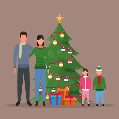 Joyeux Noël en famille vecteur