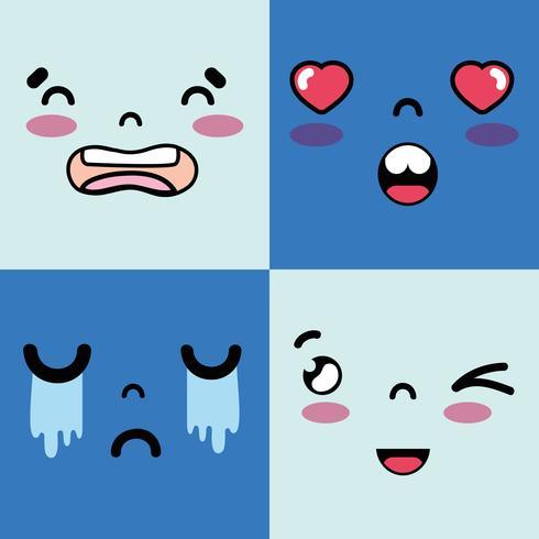 définir des visages emoji avec le caractère des émotions vecteur