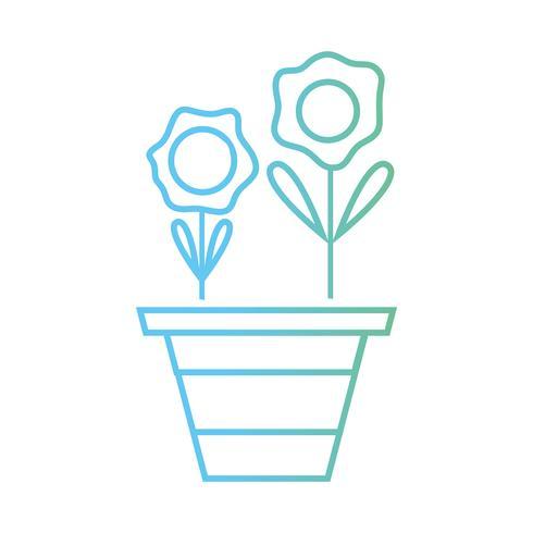 ligne de fleurs avec des pétales et des feuilles à l'intérieur du pot de plante vecteur