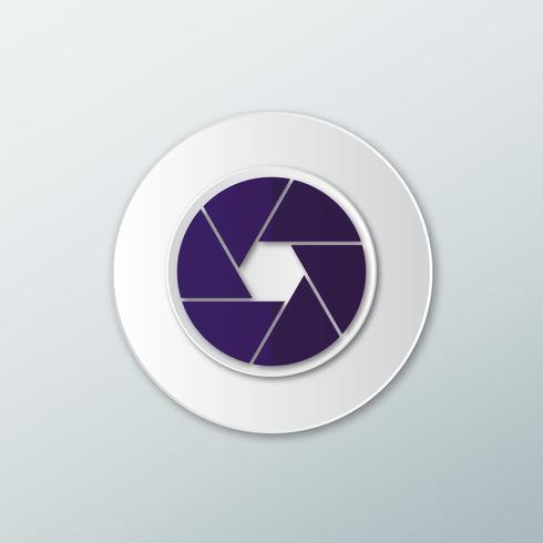 Icône de lentille de caméra violet vecteur