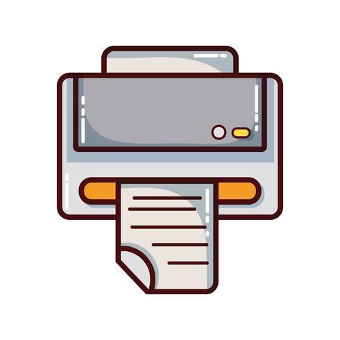 technologie de la machine d'impression avec document commercial vecteur