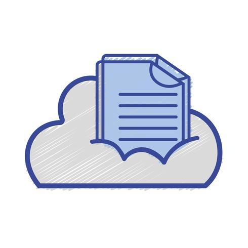 données en nuage avec informations de documents numériques vecteur