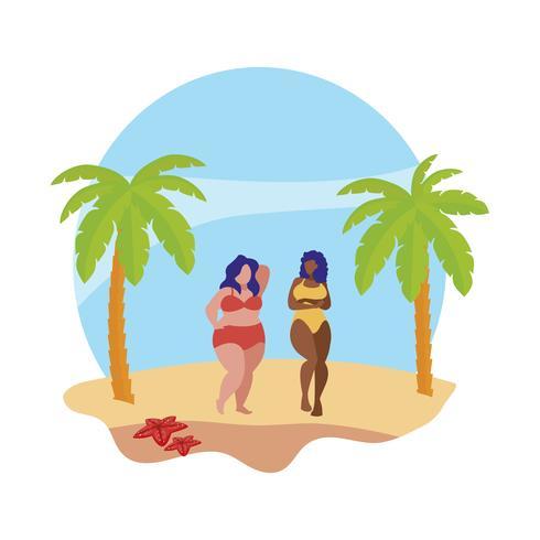 couple de jeunes filles interraciales sur la scène de l'été de la plage vecteur