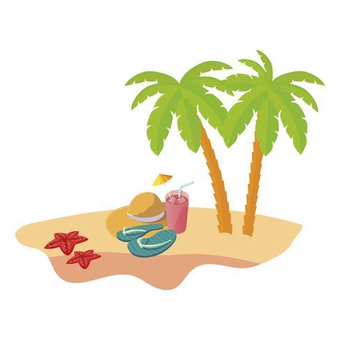 scène de plage d'été avec palmiers et chapeau de paille vecteur