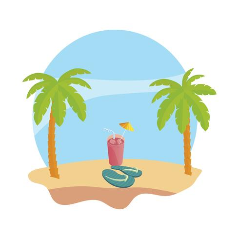 plage d'été avec palmiers et jus de fruits cocktail scène vecteur