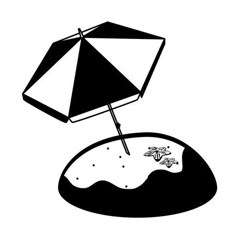 plage de sable d'été avec parasol et étoile de mer vecteur